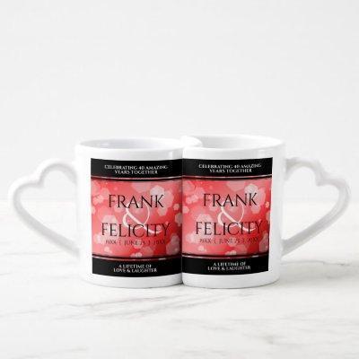 Elegant 40th 80th Ruby Wedding Anniversary Coffee Mug Set