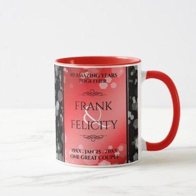 Elegant 40th 80th Ruby Wedding Anniversary Mug