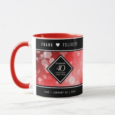 Elegant 40th Ruby Wedding Anniversary Celebration Mug