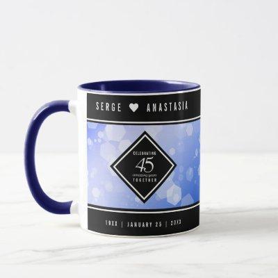 Elegant 45th Sapphire Wedding Anniversary Mug