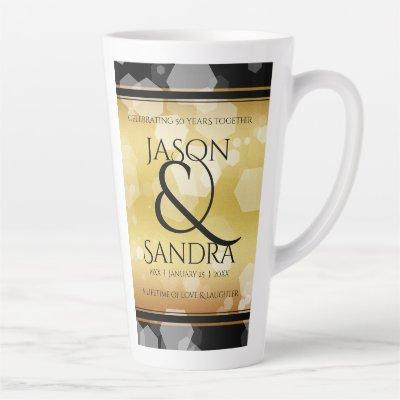 Elegant 50th Golden Wedding Anniversary Latte Mug