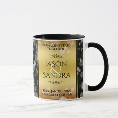 Elegant 50th Golden Wedding Anniversary Magic Mug