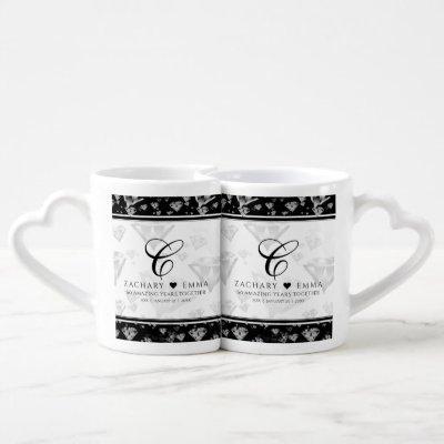 Elegant 60th Diamond Wedding Anniversary Coffee Mug Set