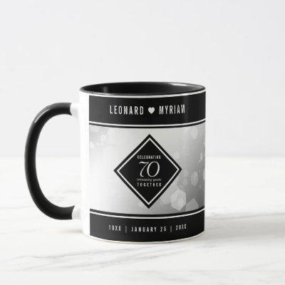 Elegant 70th Platinum Wedding Anniversary Mug