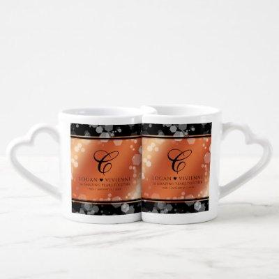 Elegant 8th 32nd Bronze Wedding Anniversary Coffee Mug Set
