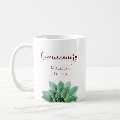 Elegant Birthday Quinceanera Desert Succulent Coffee Mug