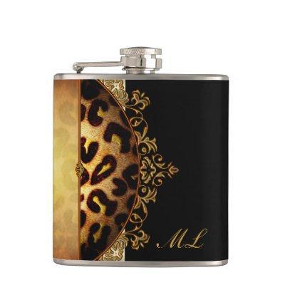 Elegant Black and Gold Monogram Leopard Hip Flask