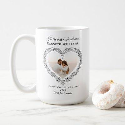 Elegant Black Best Husband Photo Valentines Day Coffee Mug