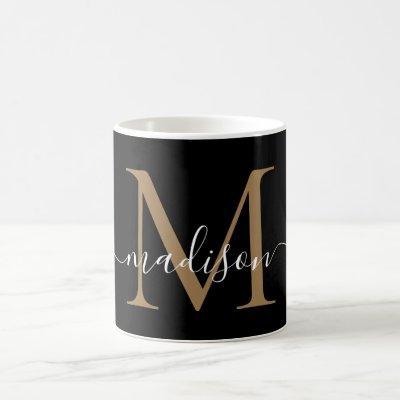 Elegant Black Gold Monogram Girly Script Stylish Coffee Mug