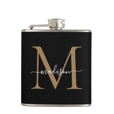 Elegant Black Gold Monogram Stylish Script Name Flask