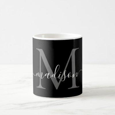 Elegant Black White Monogram Script Stylish Black Coffee Mug