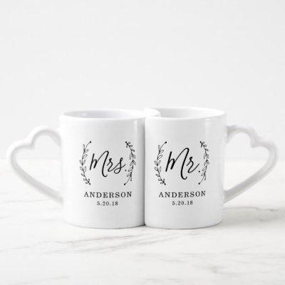 Elegant Botanical Mr. and Mrs. Newlyweds Coffee Mug Set