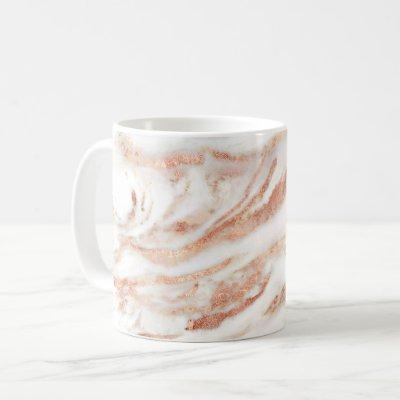 Elegant Copper Rose Gold Foil Marble Coffee Mug