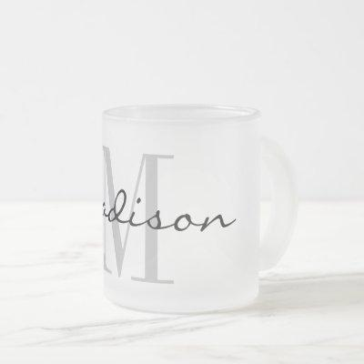 Elegant custom name monogram frosted glass tea mug