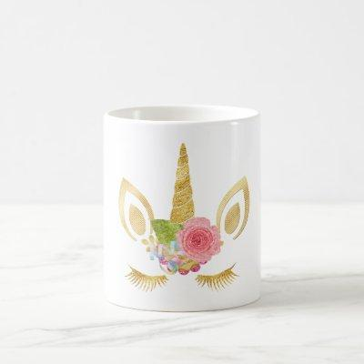 Elegant cute pretty floral gold glitter unicorn coffee mug