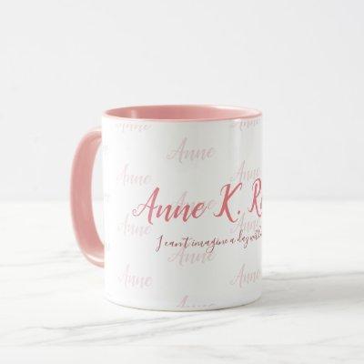 elegant feminine handwritten name pink white mug