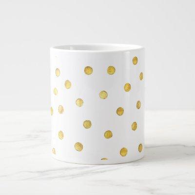 Elegant Gold Foil Confetti Dots Giant Coffee Mug