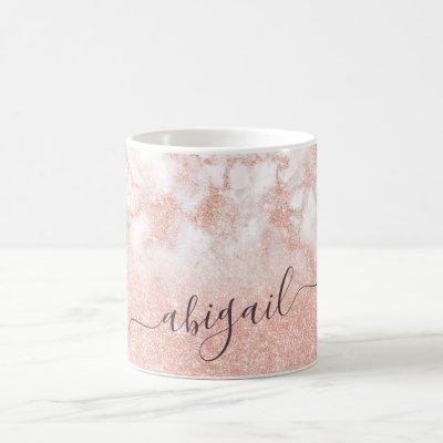 Elegant gradient copper rose gold glitter marble coffee mug
