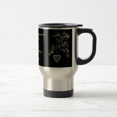 Elegant Heart Golden Wedding Anniversary Memento Travel Mug