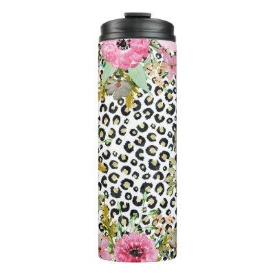 Elegant leopard print and floral design thermal tumbler