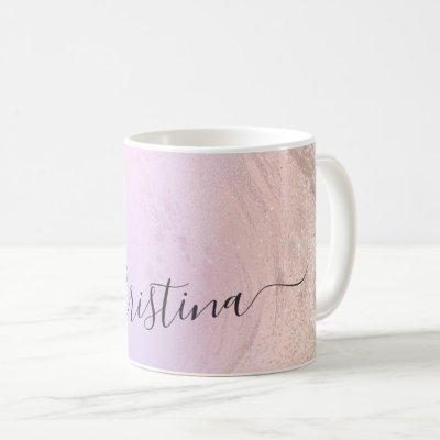 Elegant modern gradient rose gold glitter purple coffee mug