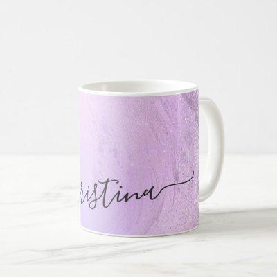 Elegant modern gradient violet glitter marble coffee mug