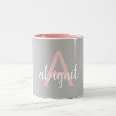 Elegant Modern Pink Gray Monogram Name Two-Tone Coffee Mug