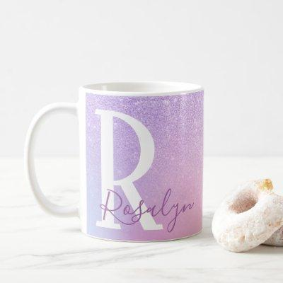 Elegant modern stylish girly ombre purple glitter coffee mug