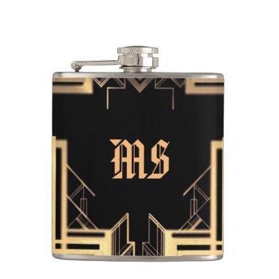 Elegant Monogramed Great Gatsby Design - Flask