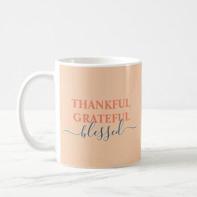 Elegant orange thankful grateful blessed coffee mug