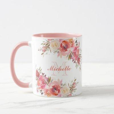 Elegant Pastel Pink Peach Rose Floral Monogram Mug