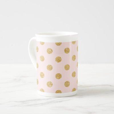 Elegant Pink And Gold Glitter Polka Dots Pattern Bone China Mug