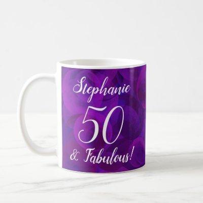 Elegant Purple 50 and Fabulous Year Personalized Coffee Mug