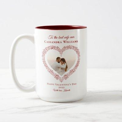 Elegant Red Heart Best Wife Photo Valentines Day Two-Tone Coffee Mug