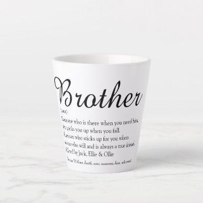 Elegant Script Fun Cool Best Brother Definition  Latte Mug