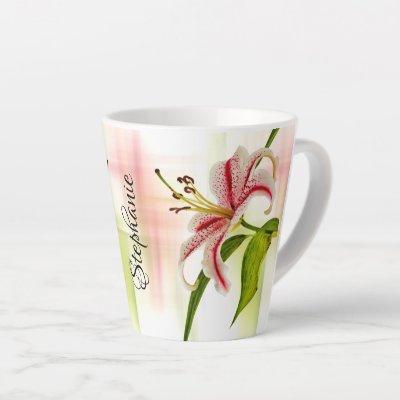 Elegant Star Lily (Stargazer) Floral Photography Latte Mug