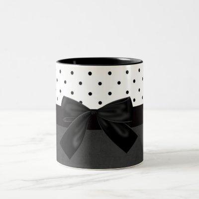 Elegant Stylish Black,White Polka Dots-Black Bow Two-Tone Coffee Mug