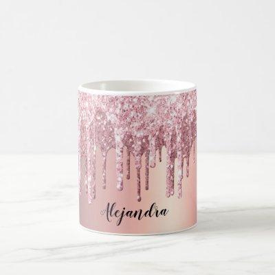 Elegant stylish copper rose gold glitter drips coffee mug