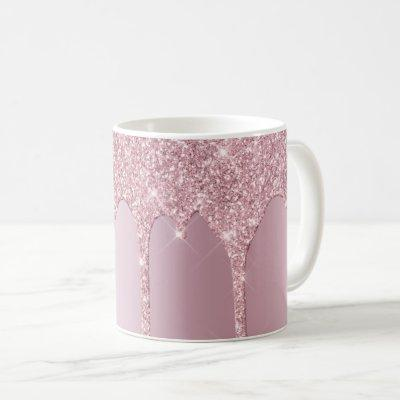 Elegant stylish pink rose gold glitter drips coffee mug