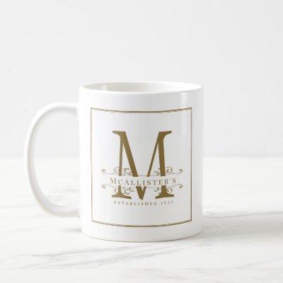 Elegant Swirls Monogram White Gold Family Classy Coffee Mug