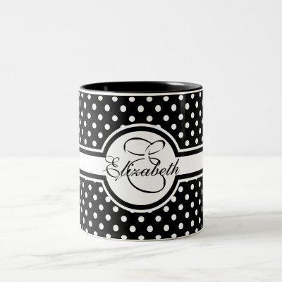 Elegant White Polka Dots on Black Monogram Two-Tone Coffee Mug