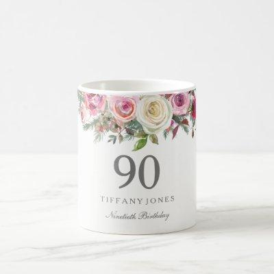 Elegant White Rose Pink Floral 90th Birthday Coffee Mug