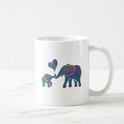 Elephant Hugs Rainbow Mom and Baby with Heart Coffee Mug