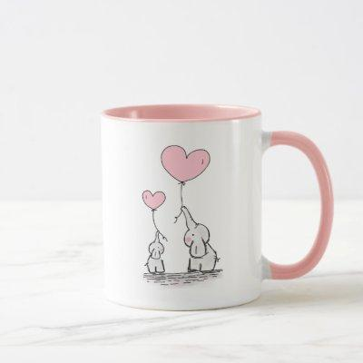 Elephant Mom & Baby Pink Mother's Day Baby Shower Mug