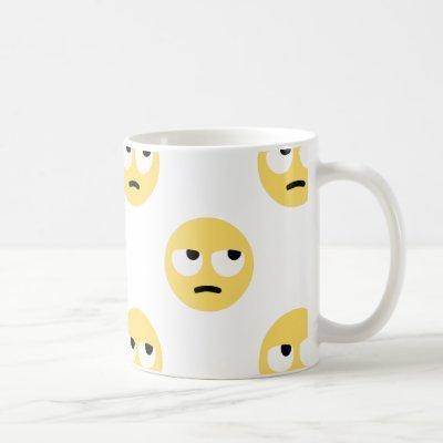 emoji eye rolling coffee mug