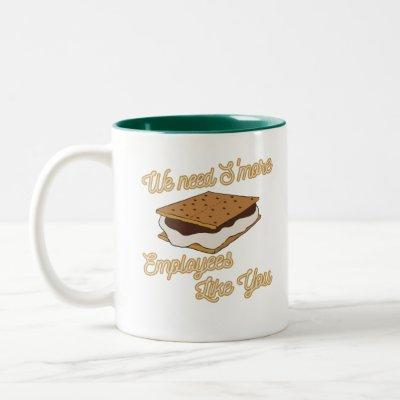 Employee Appreciation Funny Gift Idea Smores Two-Tone Coffee Mug