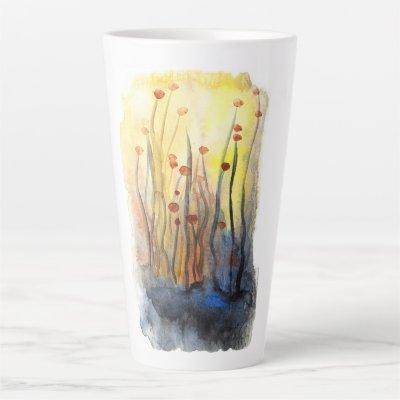 Enchanted Soft Pastel Flower Forest Watercolor Latte Mug