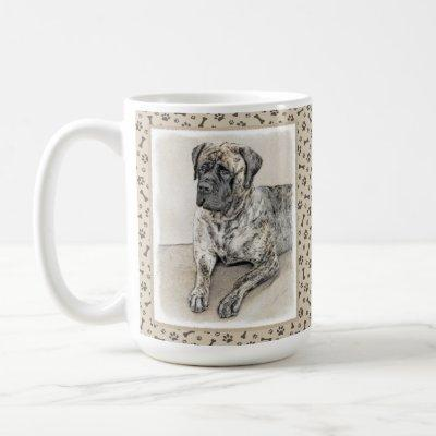 English Mastiff (Brindle) Painting - Dog Art Coffee Mug