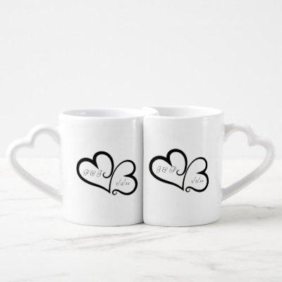 Entwined hearts nested mugs