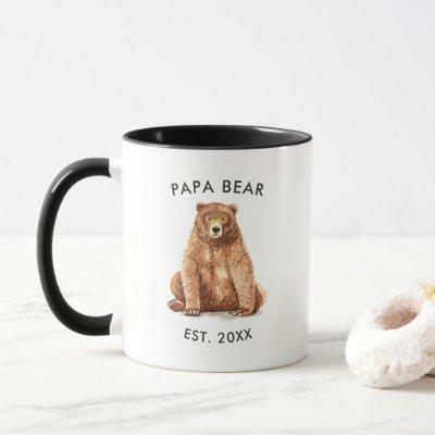 Established Year | Watercolor Papa Bear Mug